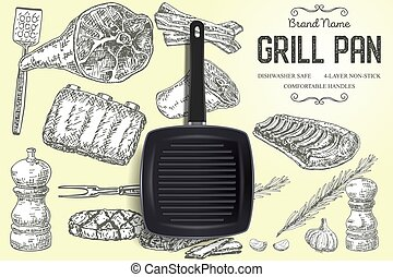 Grill pan brand ads vector poster banner template
