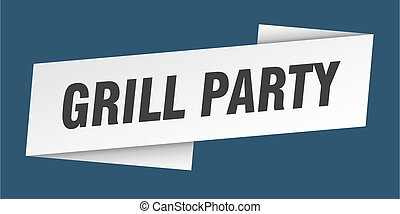 grill party banner template. grill party ribbon label sign