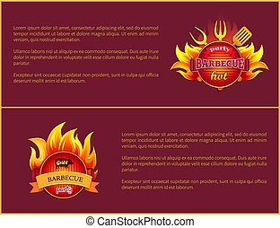 Grill Party Hot Barbeque Fest Vector Posters Set