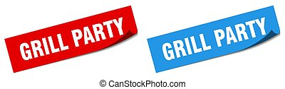grill party paper peeler sign set. grill party sticker