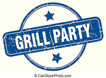 grill party round grunge isolated stamp