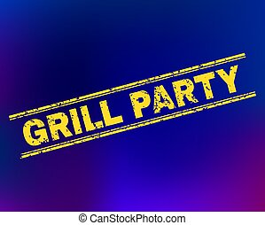 GRILL PARTY Scratched Stamp Seal on Gradient Background