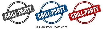grill party stamp. grill party sign. grill party label set