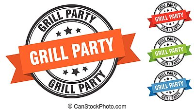 grill party stamp. round band sign set. label - grill party ...