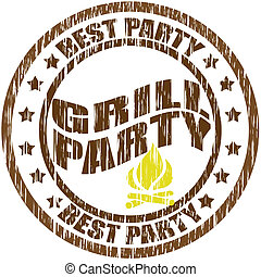 Grill party - Stamp with text grill party inside, vector ...