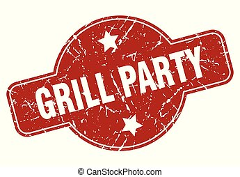 grill party vintage stamp. grill party sign