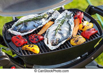 grill, peper, klok, visje, het koken, dorado, fris