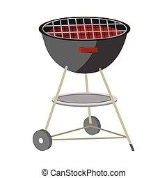 grill, picknick, witte , illustratie, etiket, achtergrond., vector, icon., style., spotprent, bbq