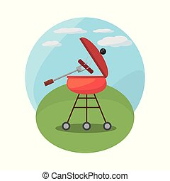 grill, picknicken, landskap, barbecue