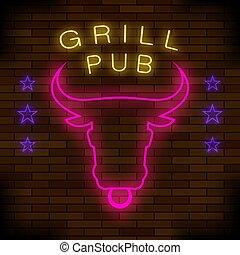 Grill Pub Neon Colorful Sign