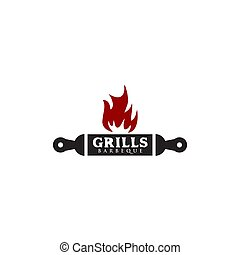Grill restaurant icon logo design vector template