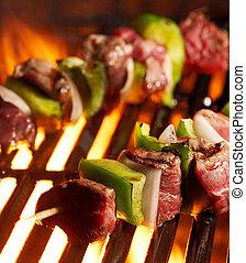 grill, rindfleisch, shishkababs