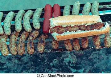 Grill. Sausages are grilled