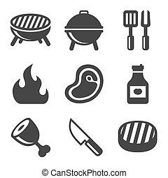 grill, set., vektor, grillsütő, ikonok