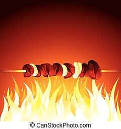 Grill Shish Kebab Prepared on Hot Flame. Vector - Grill Beef...