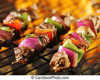 grill, shishkabob, főzés, pecek, lángoló, hússzelet