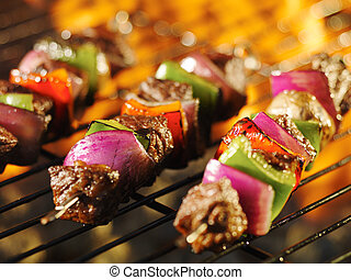 grill, shishkabob, kochen, spieße, brennender, steak