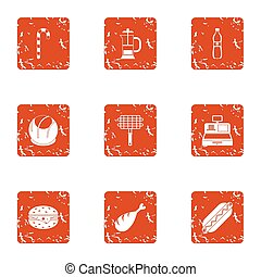 Grill shop icons set, grunge style