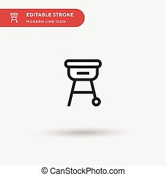 Grill Simple vector icon. Illustration symbol design template for web mobile UI element. Perfect color modern pictogram on editable stroke. Grill icons for your business project