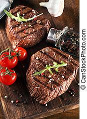 grill, stek, wołowina, rożen