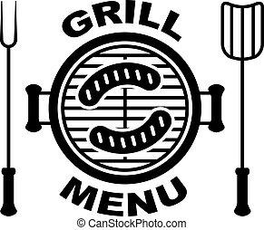 grill, symbol, vektor, meny