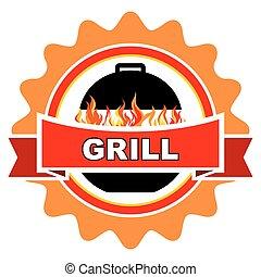 grill, szüret, címke, design.