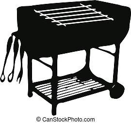grill, szerszám, kerti-parti