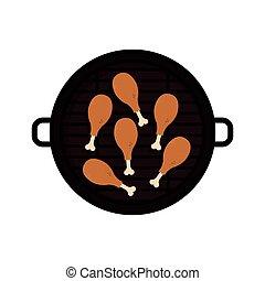 grill, tervezés, hús, elszigetelt, chichen
