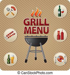 grill, tervezés, kártya, étrend