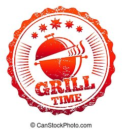 Grill time vector label design