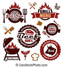 grill, vastgesteld ontwerp, communie, menu