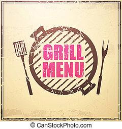 grill, vector, ontwerp, menu