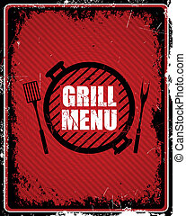 grill, vektor, étrend, aláír