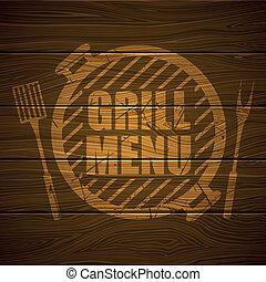 grill, vektor, design, mall, meny