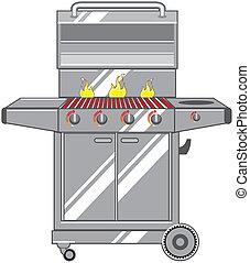 grill, vektor, s