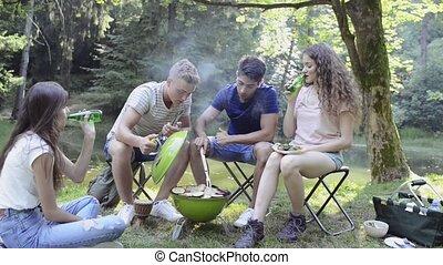 grill., viande, camping, cuisine, ados, barbecue