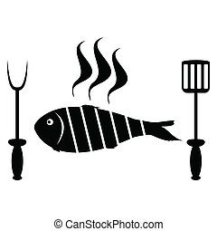 grill, visje, gebraad, barbecue