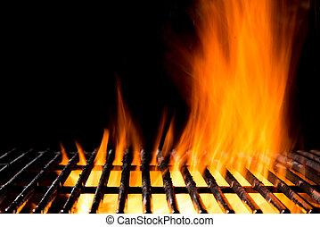 grill, vlammen, vuur rooster af, black , lege