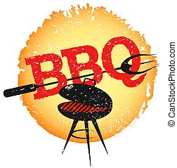 Grill with barbecue fork