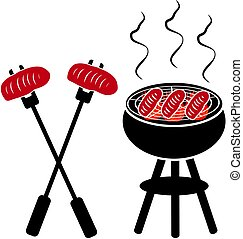 Grill with grill steak isolated on white background