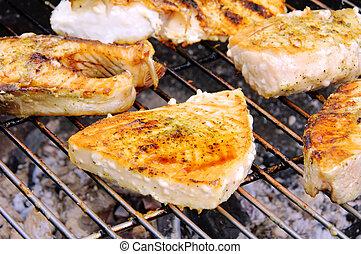 grillade, bifteck, depuis, fish, 14