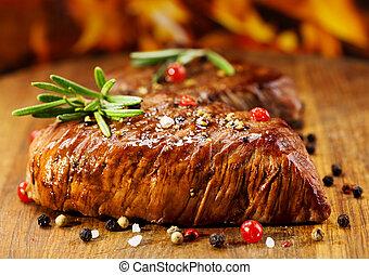 grillade kött, med, rosmarin