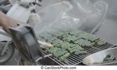 grillade, viande, vendeur, betel, emballé, local, feuilles