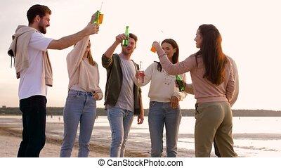 grillage, amis, plage, non, boissons, alcoolique
