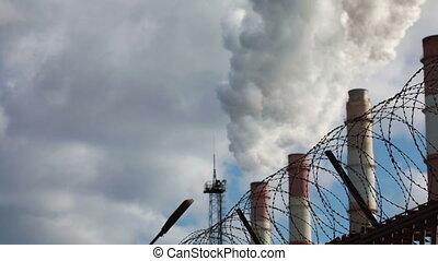 grillage, barbelé, fumée, usine, fil, cheminées