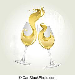 grillage, vin, deux, geste, lunettes