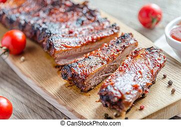 grillat, barbecue, fläsk, sauce, kotlettrader