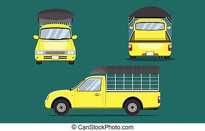grille, camion, vecteur, eps10, illustration, plastique, vue, couverture, transport, pick-up, sommet, devant, voiture jaune, dos, côté, acier