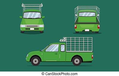grille, camion, vecteur, eps10, illustration, vue, taxi, transport, rouges, devant, pick-up, voiture, dos, côté, acier