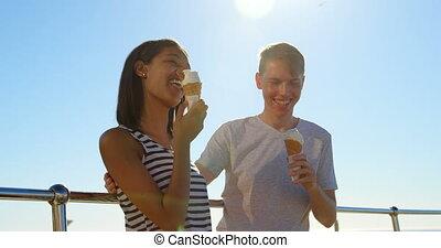 grille, couple, crème, avoir, glace, 4k, jeune, heureux